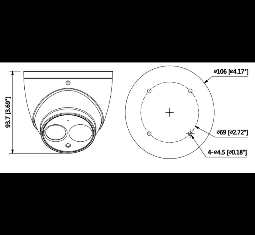 Dahua 8MP | IR Eyeball | Netwerk camera | 2.8mm