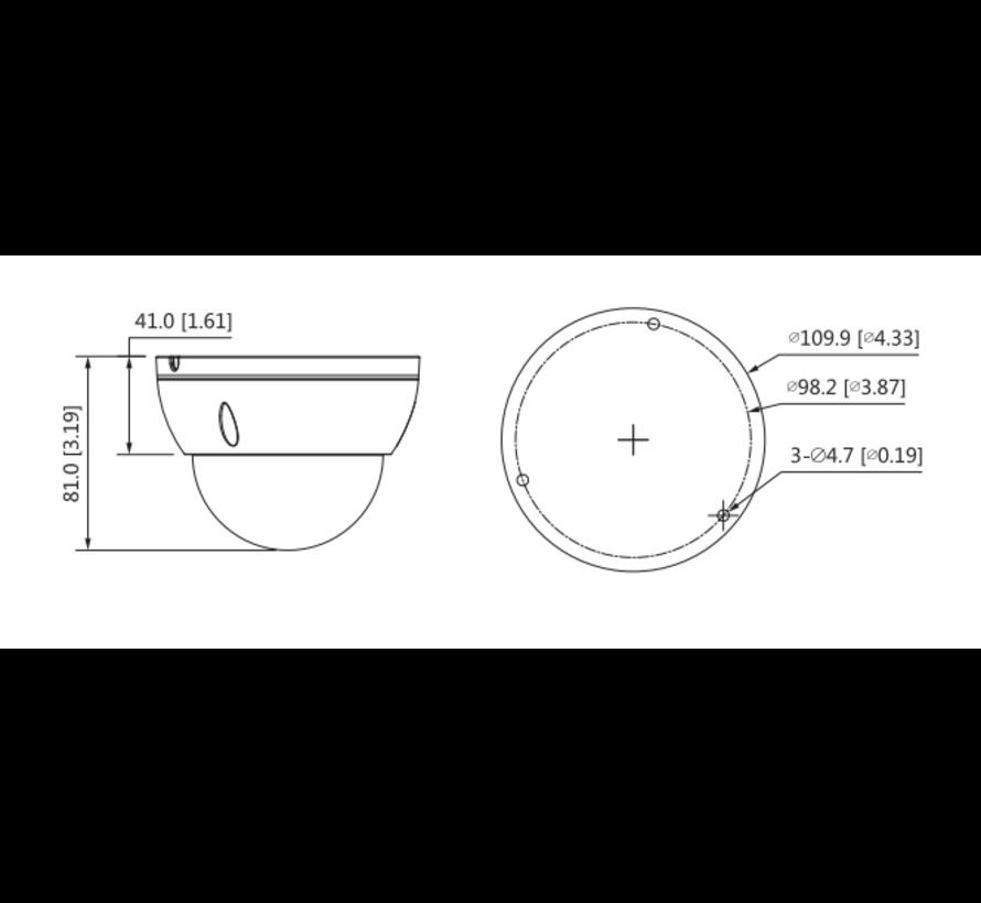Dahua 4MP | Lite AI | IR Fixed focal | Dome | Netwerk camera | 2.8mm