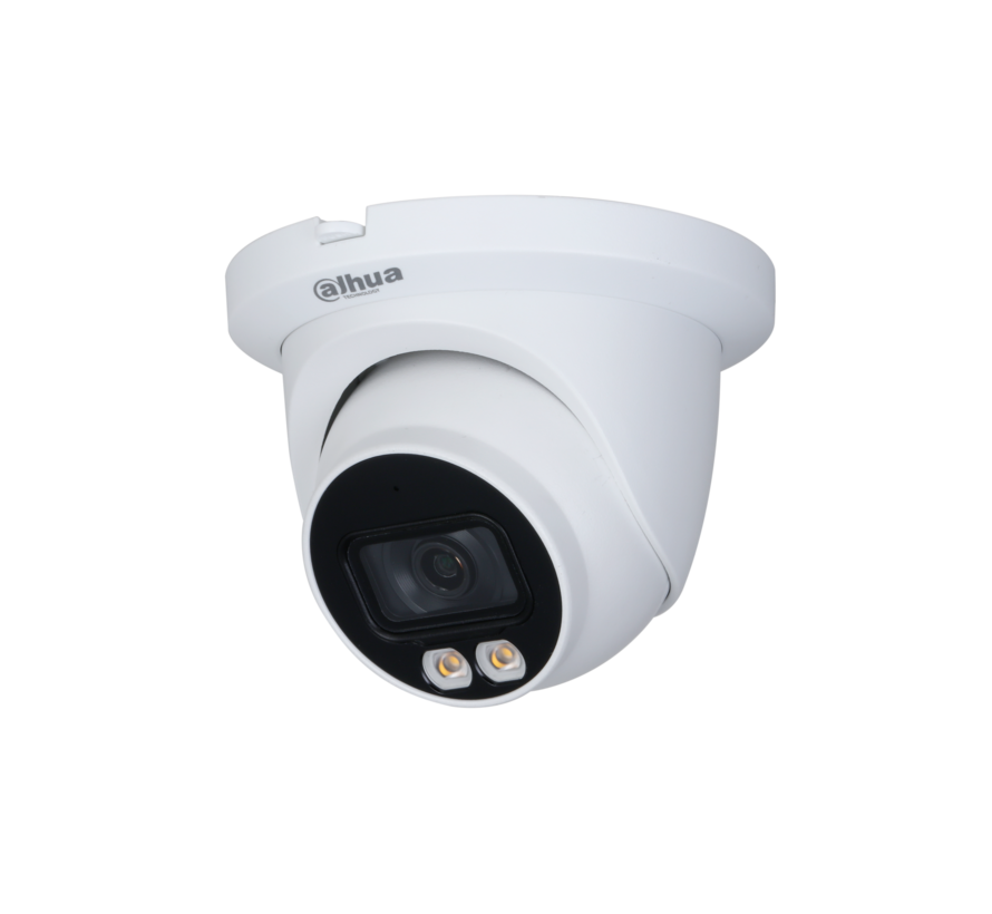 Dahua 4MP | Lite AI | Full-color | Warm wit licht LED | Eyeball | Netwerk camera | 2.8mm