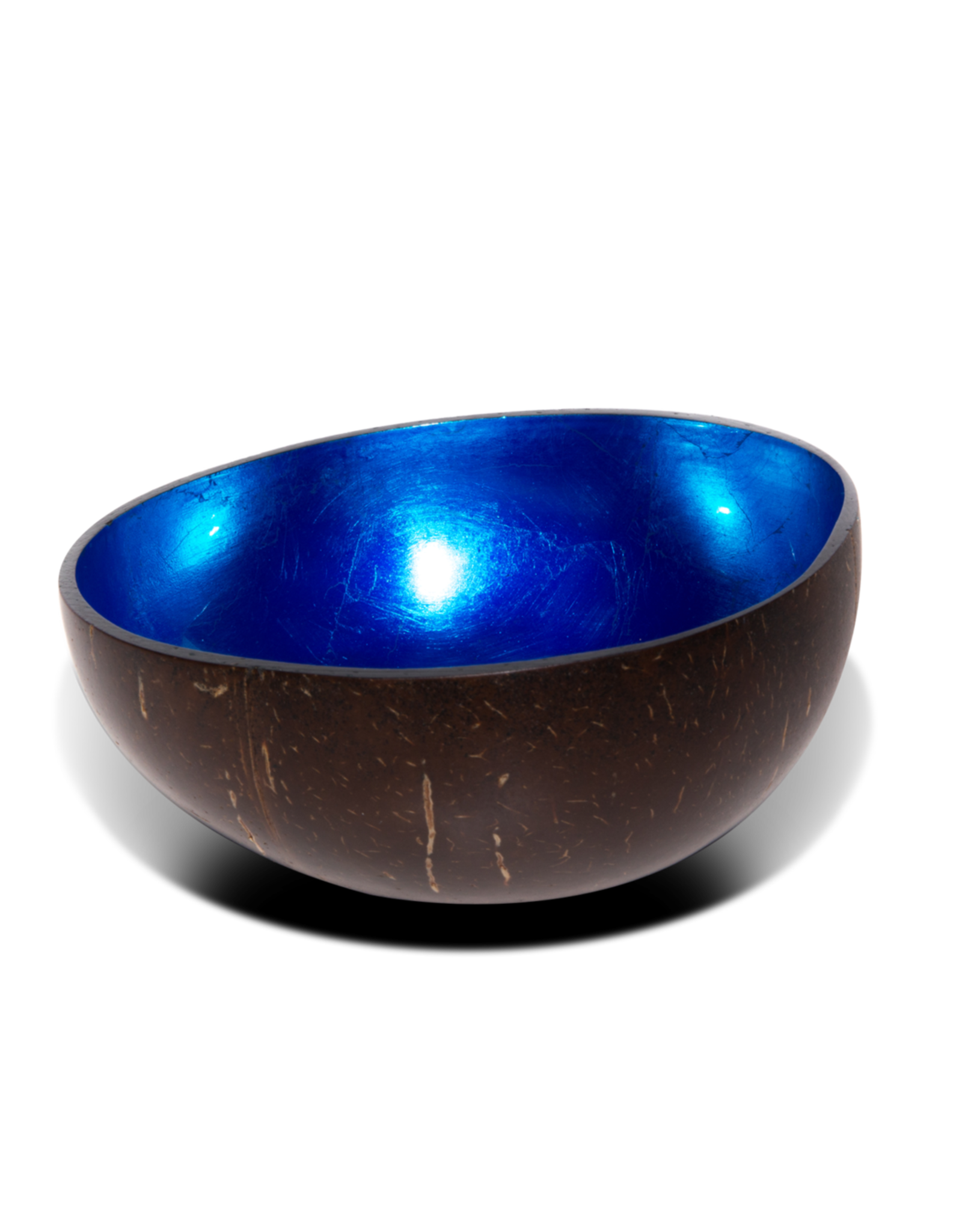P'TIT POT LACQUER COCONUT BOWL - BLAUW METAALLAK