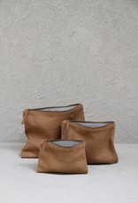 THE DHARMA DOOR JUTE CANVAS POUCH LARGE - CAMEL