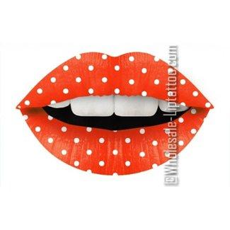 Temporäre Lippe Tattoo - Orange Polkadot