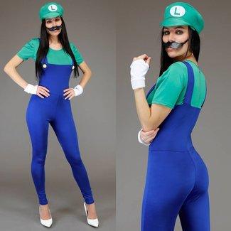Weiblicher Luigi Jumpsuit Kostüm