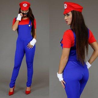 Weiblich Mario Jumpsuit Kostüm