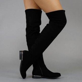 Basic Black Veloursleder-Optik Schenkel-hohe Stiefel mit kleinen Hak