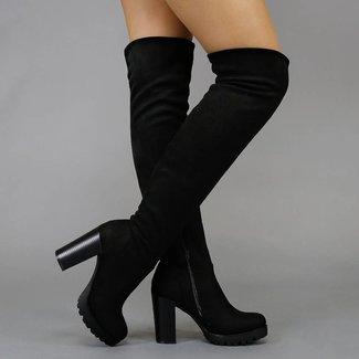 Black Suede-Blick-Schenkel-hohe Stiefel mit Blockabsatz