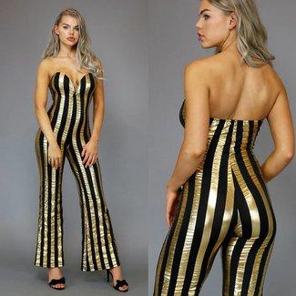 Sexy Schwarz / Goldstreifen-Overall-Flair