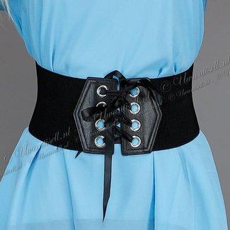 Breite Schwarz elastischer Gürtel mit Rijgdetail
