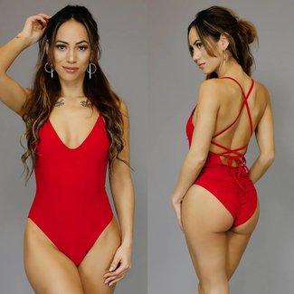 Basic Red weich gepolsterter Badeanzug