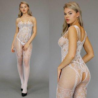 Sexy Weiß Bodystocking mit Riemchen Schultern