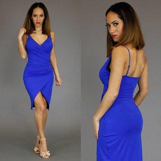 !XSALE Blau Mullet Kleid mit Plissee Taille