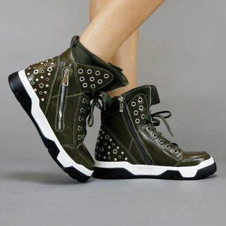 Grüne Sneaker Stiefel mit Nieten