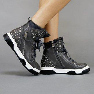 Grau Sneaker Stiefel mit Nieten