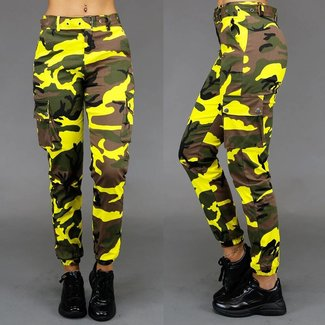 Fashion Yellow Camouflage-Hosen
