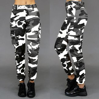 Mode Grau / weiß Camouflage Hose