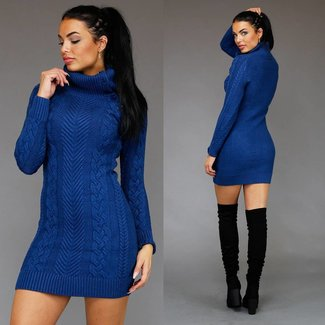 Blue Cable Pullover Kleid mit hohem Col