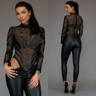 See-Through Schwarz / Gold Glitter Bodysuit