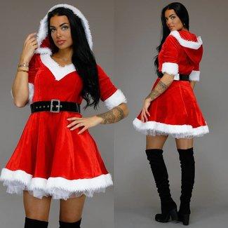 Süße Velvet Weihnachtskostüm mit Kapuze