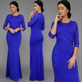 !XSALE Nobles Blau Langarm Gala-Kleid mit Mesh-Obermaterial