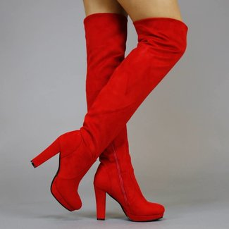 Veloursleder-Optik Schenkel-hohe Stiefel mit Red Heel