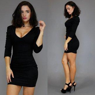 Schwarz, figurbetontes Kleid mit Wrap und Plissee Sleeve