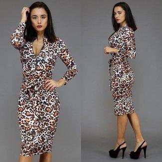 !OP=OP Leopard, figurbetontes Kleid mit Bund und Reißverschluss