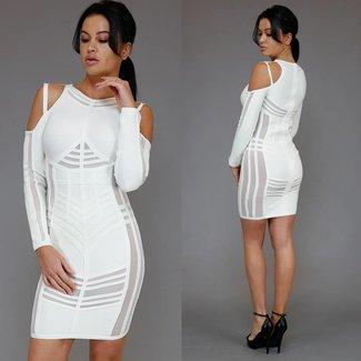 Weiß-Verband-Kleid mit Streifendetails und Cut-Outs