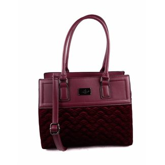 Bordeaux-Leder-Blick-Handtasche Samt Diamant-Muster