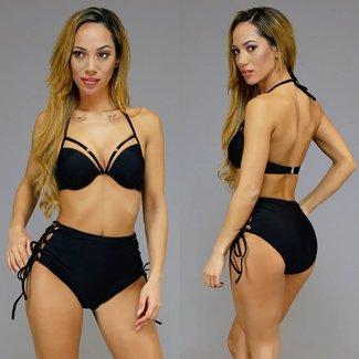 Schwarz Ultra-Push-Up-hohe Taillen-Bikini mit bordierter