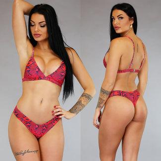 Trendy Red Snake Bikini