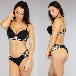Schwarz Push-Up Bikini mit breiten Trägern
