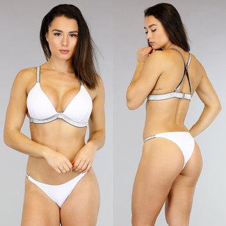 Weiß Push-Up Bikini mit Silber Reifen