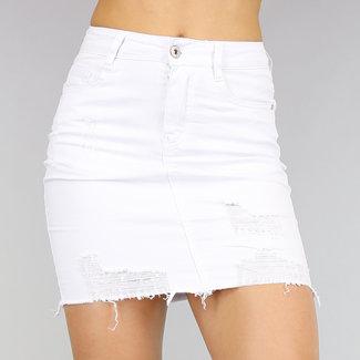 !OP=OP Beschädigte Weiß High Waist-Jeans-Rock