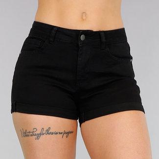 Basic Black mittlere Taillen-Jeans Shorts mit Stretch
