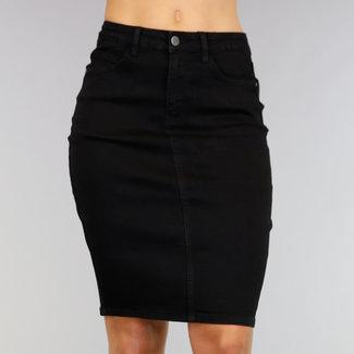 Hohe Taille Knie-Längen-Rock Jeans mit Stretch Schwarz