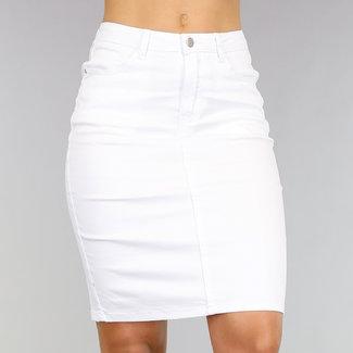 Hohe Taille Knie-Längen-Rock Jeans mit Stretch Weiß