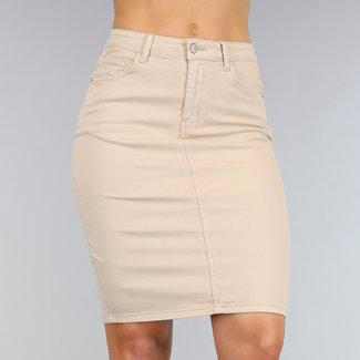 Hohe Taille Knie-Längen-Rock Jeans mit Stretch Beige
