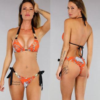 Sexy orange-Druck-Bikini mit goldenen Details
