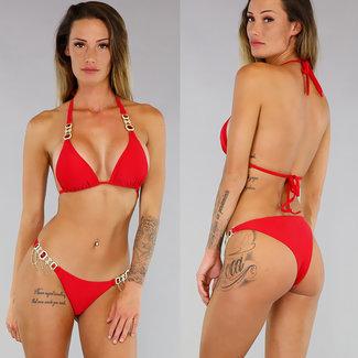 Sexy Red Bikini mit Goldglitter-Details