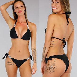 Schwarz Triangel-Bikini mit reflektierenden Details