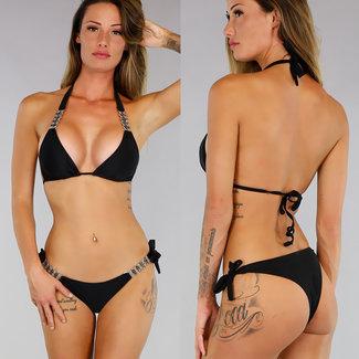 Black Metal Halter Triangel-Bikini