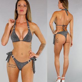 Glitter Schwarz Triangel-Bikini mit blauem Stein