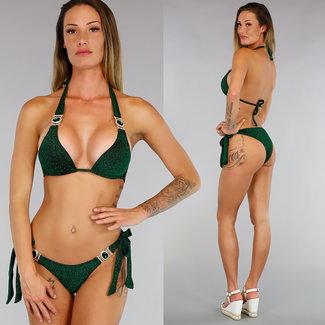Grüne Glitter Triangel-Bikini mit Green Stone