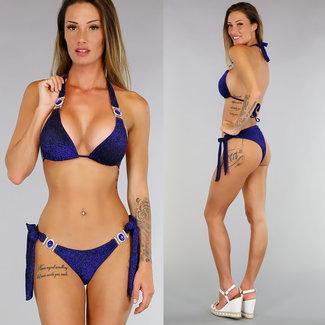 Blue Glitter Triangel-Bikini mit blauem Stein