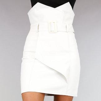 !OP=OP Weiß Asymmetrische Leder-Blick-Rock mit Gürtel