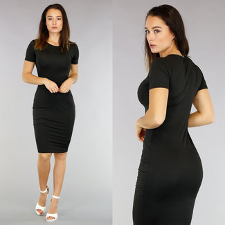 !XSALE Basic Black Bodycon Midi-Kleid mit kurzen Ärmeln