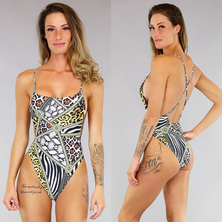 Sexy High Cut-Tierdruck-Badeanzug