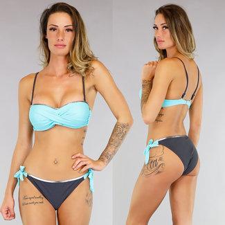 Turquoise Twisted-Push-Up Bandeau Bikini