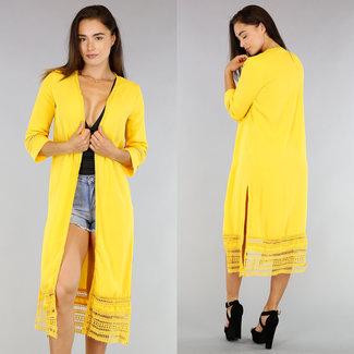 !SALE50 Lange gelbe Jacke mit 3/4 Ärmeln und Häkeln Details