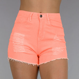 Coral High Waist Shorts mit Tränen
